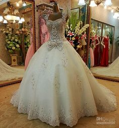 2013 New Style Sexy Crystals Luxury Wedding Dresses Cathedral Train Bling Bling Bridal Gowns: love this minus the now