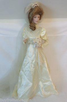 "Porcelain Doll Bride Franklin Heirloom Gibson Girl 1987 Ivory Dress 22"""