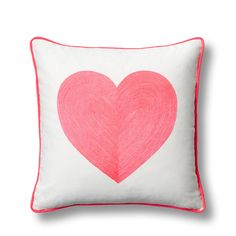 Embroidered Neon Heart Pillow Cover - C. Wonder