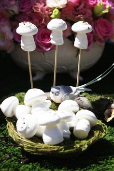 Mushrooms on a stick at a fairy party #fairyparty #mushroomcandy