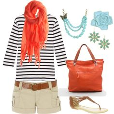 short, style, color combos, colors, summer outfits, oranges, summer cloth, spring outfits, stripe