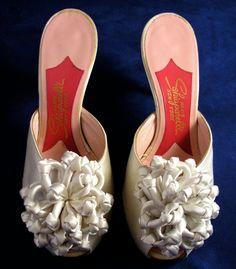 Vintage Schiaparelli Satin Boudoir Wedding Mule Shoes with Satin Ribbon Poms Size 5 1/2M - Free USA Shipping
