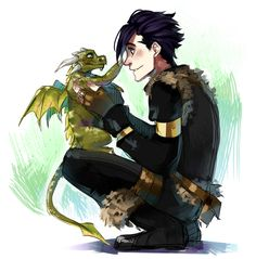 Human Toothless and Dragon Hiccup