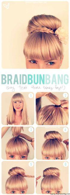 hair tutorials, braided styles, long hair, hairstyle tutorials, hair beauty, braid bun, bang, hair buns, sock buns
