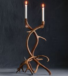 Image of Tall Swedish Reindeer Candlestick, Natural