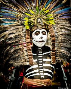 Day of the Dead celebrant, Mexico City, Mexico