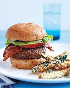 Feta-stuffed BLT burger recipe.