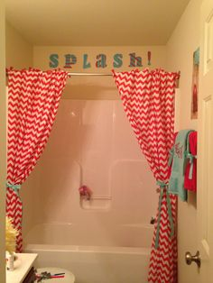 red and blue shower curtain. Kids Red And Blue Bathroom With Chevron Shower Curtains Love It But Girl Bathrooms