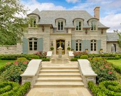 french interior, grand entrance, dream homes, french architecture, shutter, exterior colors, french country, curb appeal, dream houses