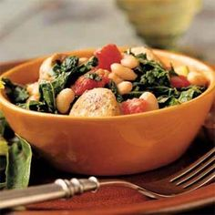 White Bean and Sausage Ragout with Tomatoes, Kale, and Zucchini | MyRecipes.com