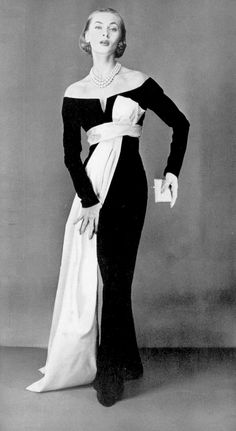 Ghislaine Arsac in (YSL) Dior's iconic black velvet sheath with white satin sash made famous in Avedon's photo of 'Dovima with the elephants', photo by Guy Arsac, 1955