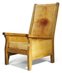 """Robert """"Mouseman"""" Thompson- oak and leather chair (mouse is carved on near front leg)."""
