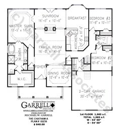Chatham A Plan # 02236, 1st Floor Plan, Ranch Style House Plans, One Story House Plans, Traditional Style House Plans