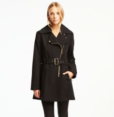 Lurex Asymmetric Zip Coat - Kenneth Cole