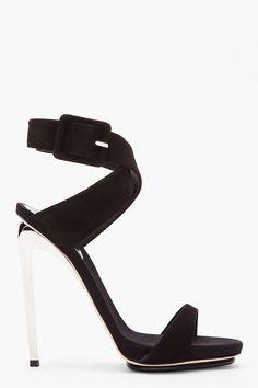 Giuseppe Zanotti ::: Black Suede And Silver Alien 115 Heels