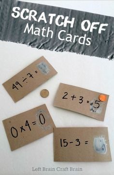 Make some easy scratch off math cards with the kids to help them learn their addition, subtraction, multiplication and division. #preschool #efl #education (repinned by Super Simple Songs)