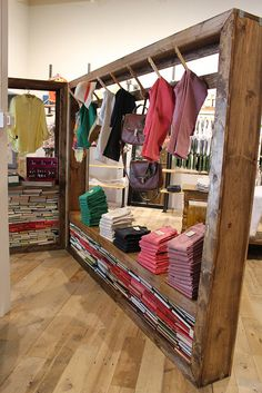 Visual Merchandising | Display | Wooden racks/display #shop #clothing #display
