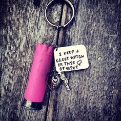 Pink Shotgun Shell Keychain I Keep A by TheWildflowerCowgirl, $14.95