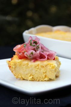 Pastel de choclo or savory corn cake with tomato and onion salsa
