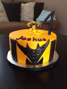 Transformer Bumblebee themed Happy Birthday Cake