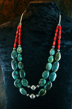 Multistrand Coral And Turquoise Necklace
