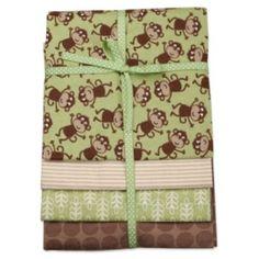 baby boy monkey blankets | Pack Green & Brown Monkey Receiving Blankets | Shop family, kids ...