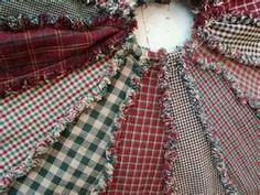 Primitive Homespun Ragged Christmas Tree Skirt Handmade