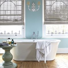 blue baths, wall colors, tubs, side tables, blue walls, bathtub, bathrooms, bathroom designs, bathroom ideas