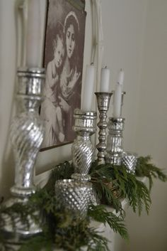 mercury glass on the mantel