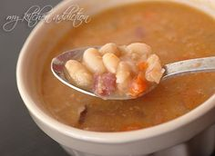Slow Cooker Ham and Bean Soup | my kitchen addiction