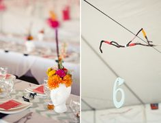 """love the creativity with the table numbers and the """"stick mobile"""" :)"""