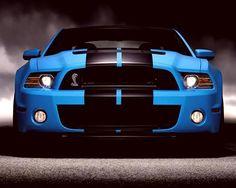 blue car Mustang GT500