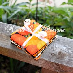 Quilted Coasters Set of 4 Fall Pumpkin Fabric by mishacoledesigns, $12.00