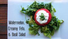 Watermelon, creamy feta and basil salad