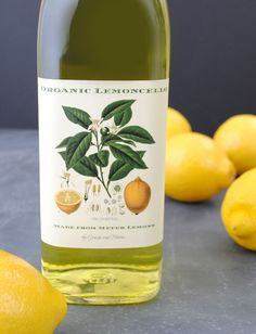 Make your own limoncello with this genuine recipe. Examples of custom limoncello labels to stick on the bottle for homemade gifts.
