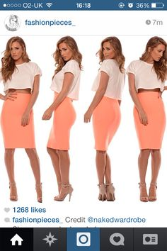 Crop top with coral pencil skirt. X