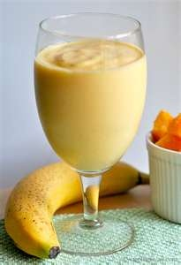 Wake & Shake Smoothie  3/4 cup orange juice   3/4 cup nonfat yogurt   1/2 of a medium papaya (peeled, seeds removed)   1 teaspoon lime juice   1/2 banana   3-4 ice cubes