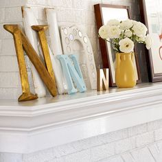 Letter Perfect Mismatched sign letters found at architectural salvage stores and flea markets make stunning displays when grouped together. Use the same letter in different sizes for added impact. For a no-nails-necessary project, simply lean the letters against the wall.