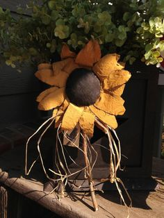 Primitive Hand Painted Sunflower by westernplainsdesigns on Etsy, $10.50