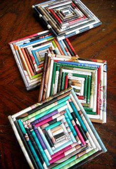 Square Upcycled  Magazine Coasters
