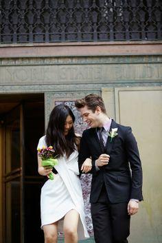 chic and minimal city hall wedding