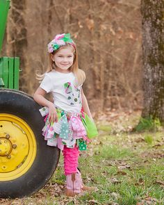 John Deere Scrappy Tutu- Rag Skirt - Girls Scrappy Tutu - Pink Green and White Plaid Skirt. $27.50, via Etsy.
