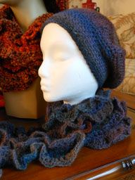Wool hat and curly scarf - hand crocheted