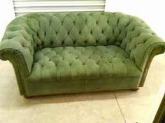 Green Suede Chester Field Sofa - If only I had the room!
