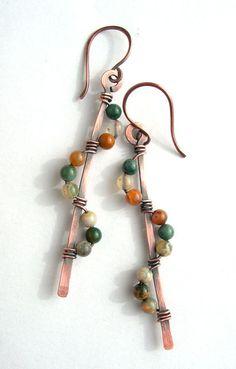 Earthy earringsboho earringsocean jasperwire by Kissedbyclover,
