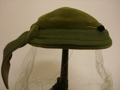 Vintage 1950s Hunter Green Cap w Netting  Made in by EssexAntiques, $20.00