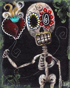 heart art, art prints, sugar skull, los muerto, abrilandrad, dia de, de los, dead, abril andrad