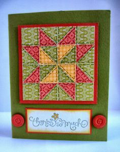 handmade quilt card from Paper Seedlings: QUILT WEATHER ... luv the rich fall colors ... quilt patch star pattern ... hand drawn sewing lines ... Linda has an excellent tutorial on her blog ...  luv it! ...Stampin' Up!