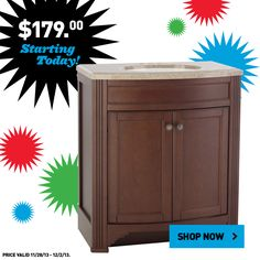 Shop Lowe's Black Friday prices online now!  This Style Selections vanity is just $179!