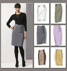 Pencil skirt variations. I like the bottom center version with gathers on both sides. Especially like the idea of a tweed inset with another main fabric.  #sewing #pattern